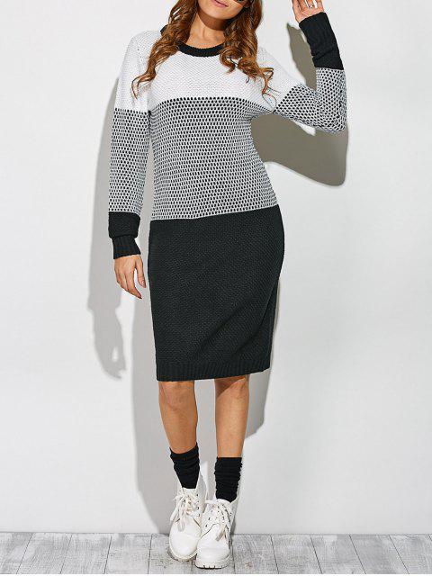 Kontrast Trim Pullover Kleid - Weiß & Schwarz Eine Größe Mobile