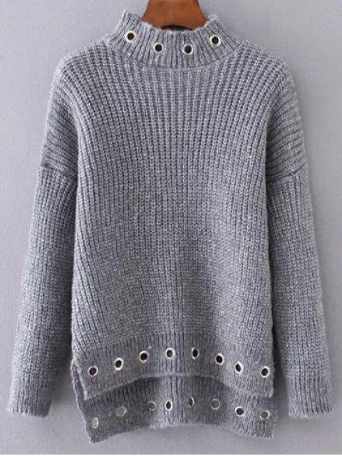 online High Low Ring Embellished Ribbed Sweater - GRAY ONE SIZE Mobile