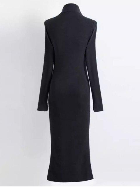 shops Zippered Knitted Bodycon Dress - BLACK M Mobile