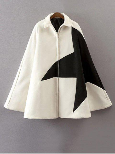affordable Cashmere Pentagram Print Cape Coat - WHITE M Mobile