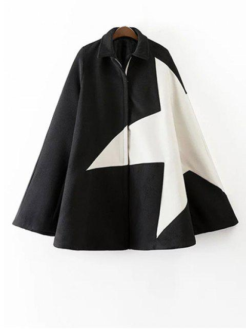 women Cashmere Pentagram Print Cape Coat - BLACK M Mobile