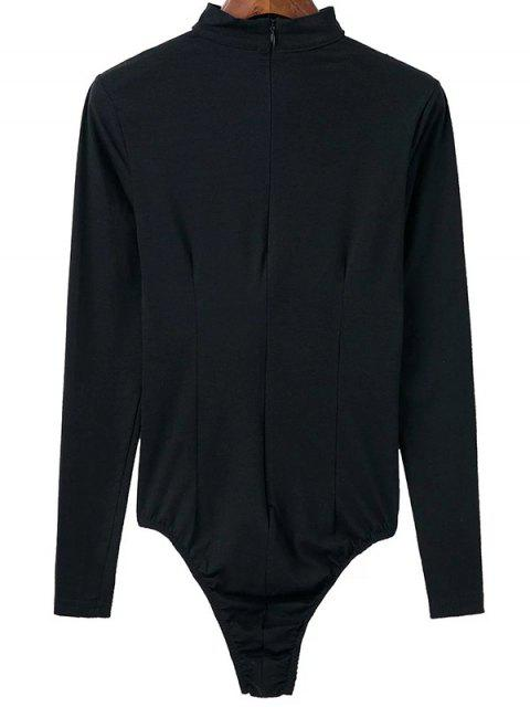 trendy Cut Out Long Sleeve Choker Bodysuit - BLACK L Mobile