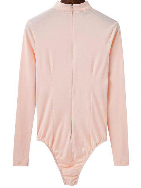 shops Cut Out Long Sleeve Choker Bodysuit - APRICOT M Mobile