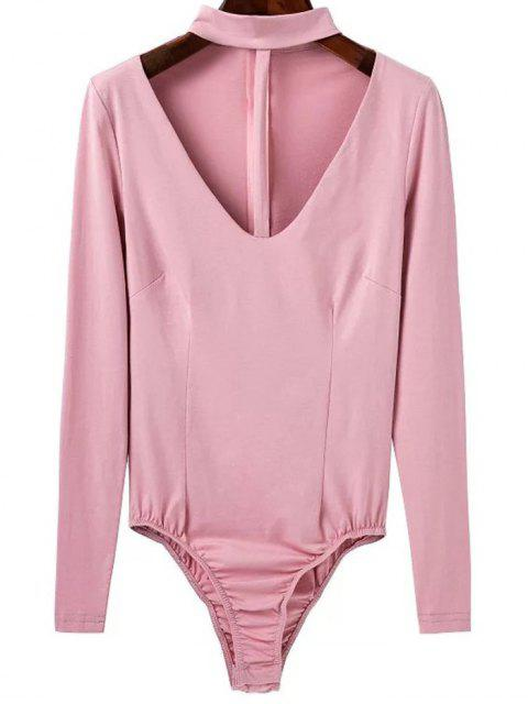 fancy Cut Out Long Sleeve Choker Bodysuit - PINK L Mobile