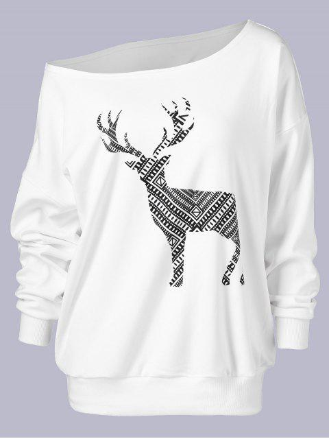 ladies Plus Size Wapiti Print Skew Collar Sweatshirt - WHITE 3XL Mobile