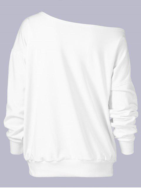 best Plus Size Wapiti Print Skew Collar Sweatshirt - WHITE XL Mobile