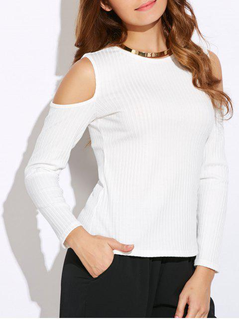 fancy Ribbed Cold Shoulder Knitwear - WHITE M Mobile