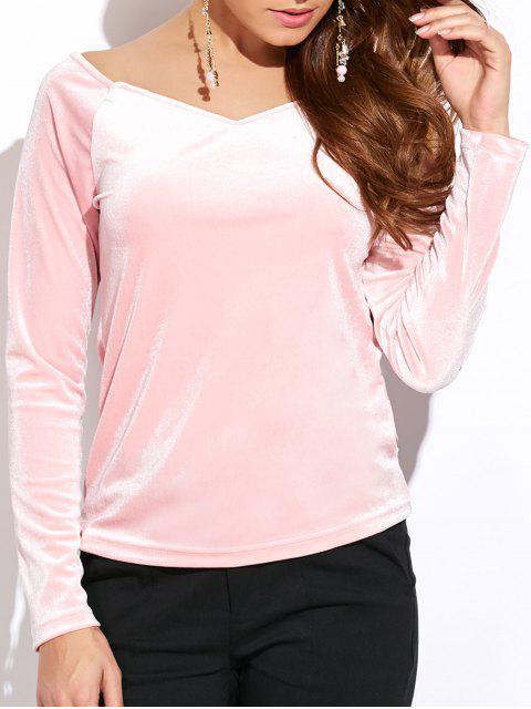 women's V Neck Slimming Top - PINK L Mobile