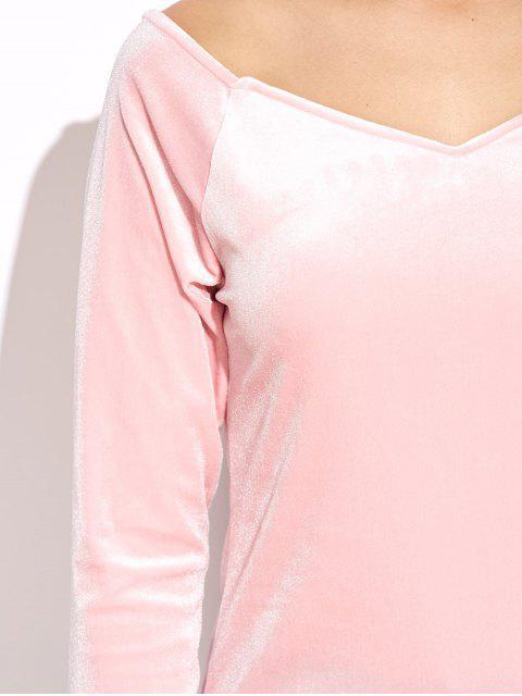 women V Neck Slimming Top - PINK XL Mobile