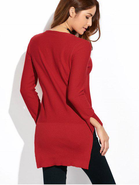 shops Long Loose High-Low Sweater - WINE RED M Mobile
