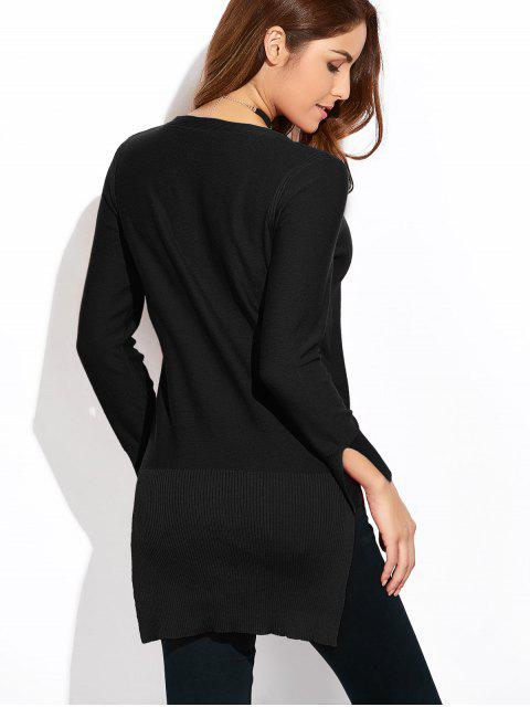 fashion Long Loose High-Low Sweater - BLACK L Mobile