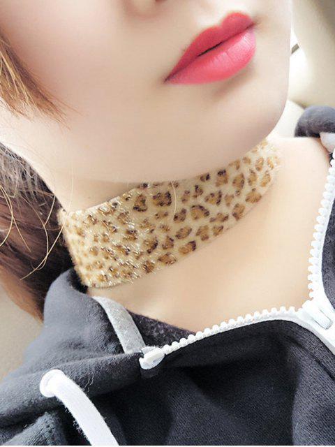 Collier de faux-cuir velouté à empreintes de léopard - Léopard  Mobile