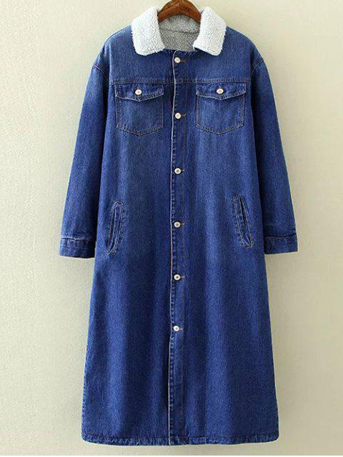 new Borg Lined Maxi Sherpa Denim Coat - BLUE M Mobile