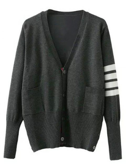 fancy V Neck Striped Sleeve Cardigan - GRAY M Mobile