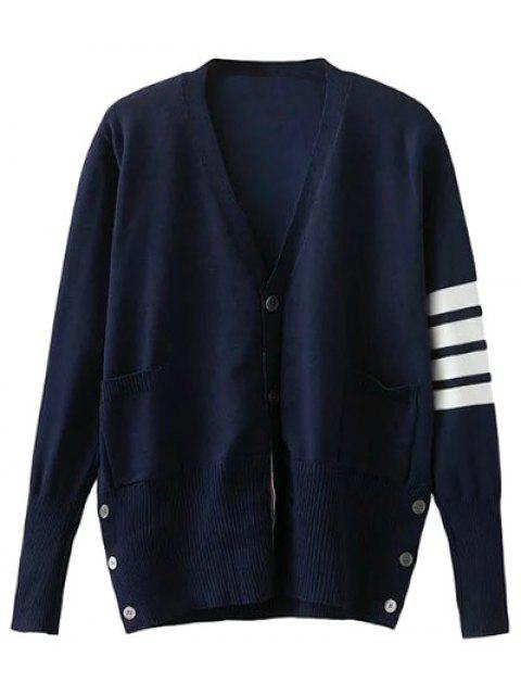 womens V Neck Striped Sleeve Cardigan - CADETBLUE S Mobile