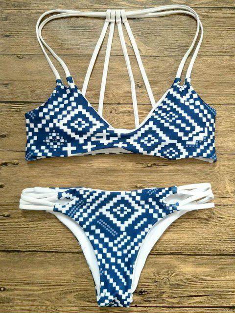 fancy Two Tone Strappy Back Bikini - BLUE AND WHITE S Mobile