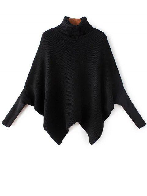 online Hanky Hem Turtleneck Batwing Sweater - BLACK ONE SIZE Mobile
