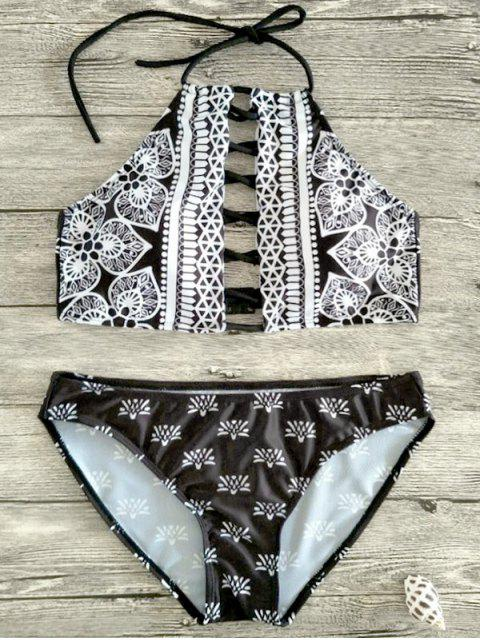 women Patterned Halter Lace Up Bikini - WHITE AND BLACK M Mobile