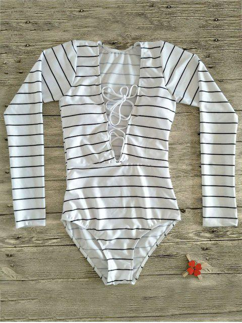 new Striped Lace Up Long Sleeve One Piece Swimsuit - WHITE M Mobile