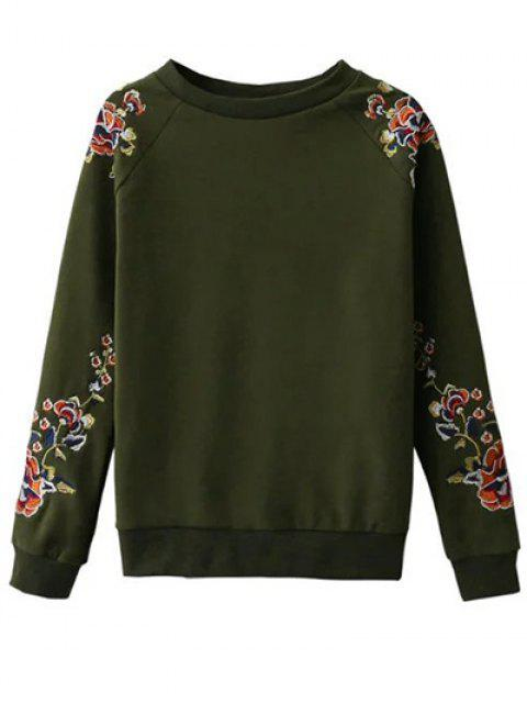 affordable Floral Embroidered Raglan Sweatshirt - GREEN S Mobile