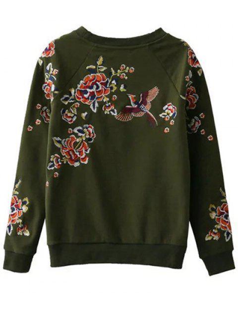 unique Floral Embroidered Raglan Sweatshirt - GREEN L Mobile