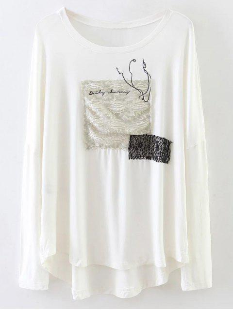 affordable Long Sleeve Patched Tee - WHITE L Mobile