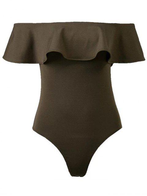 buy Ruffles Off The Shoulder Bodysuit - ARMY GREEN M Mobile