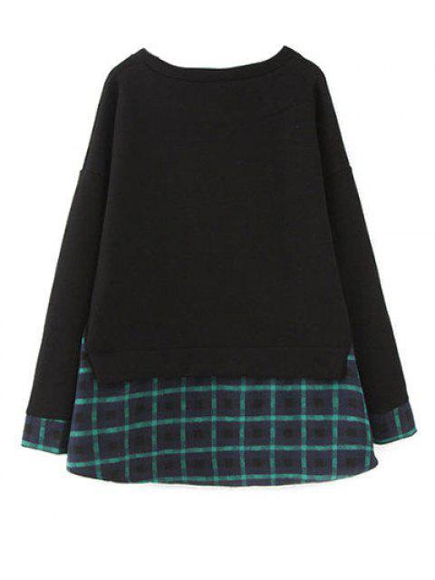 fashion Plus Size Layered Hem Sweatshirt - BLACK AND GREEN XL Mobile