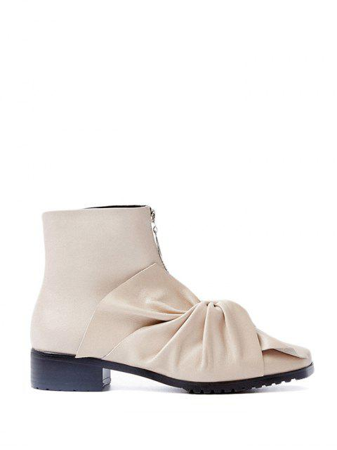 latest Bow Pointed Toe Zipper Ankle Boots - APRICOT 37 Mobile