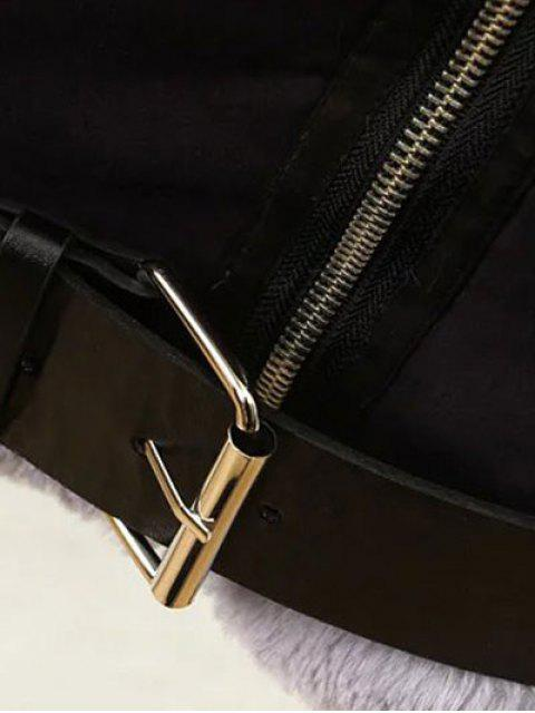 fashion Zippers Buckles Faux Shearling Jacket - BLACK M Mobile
