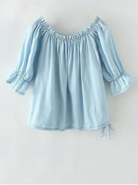 latest Denim Off The Shoulder Blouse - LIGHT BLUE L Mobile
