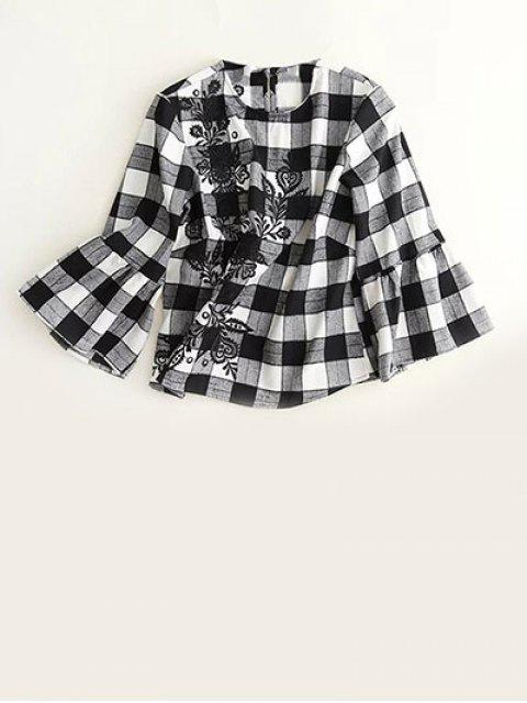 sale Bell Sleeve Embroidered Checked Blouse - WHITE AND BLACK S Mobile
