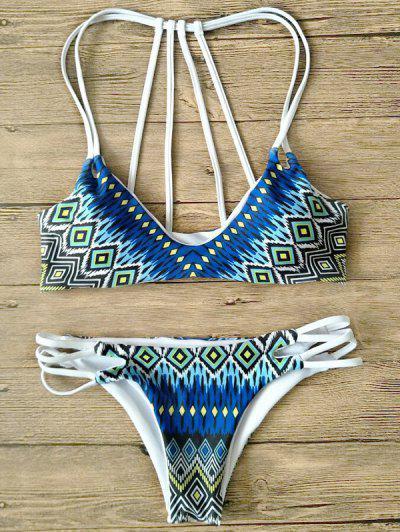 Printed Strappy Back Bikini - Multicolor S