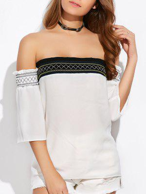 Off Shoulder Tunic Blouse - White M