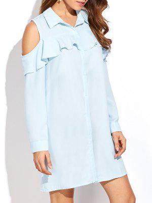Cold Shoulder Ruffled Shirt Dress - Light Blue L