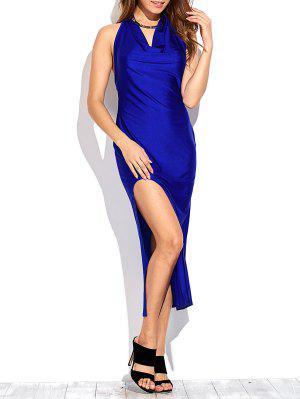 Rajó El Drapeado Vestido De Fiesta Maxi - Azul Zafiro L