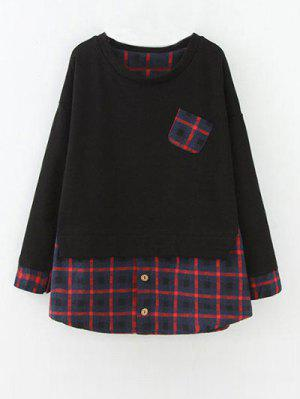 Plus Size Layered Hem Sweatshirt - Red With Black 2xl