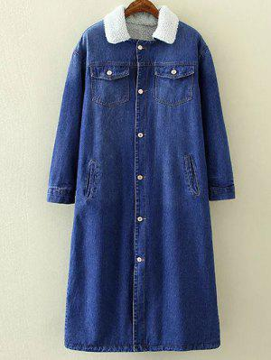Borg Lined Maxi Sherpa Denim Coat - Blue M
