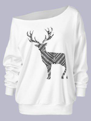 Plus Size Wapiti Print Skew Collar Sweatshirt - White 4xl