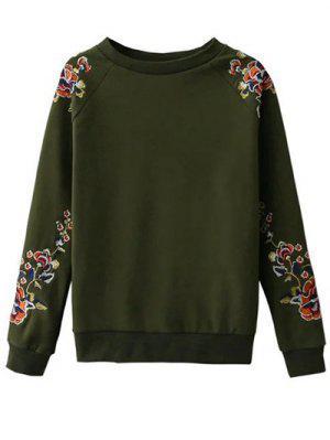 Bordado Floral De La Camiseta Del Raglán - Verde M