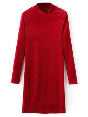Mock Neck Long Sleeves Velvet Dress - Red M