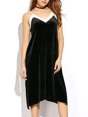 Mesh Velvet Garniture Cami Dress - Noir M