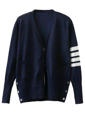 V Neck Striped Sleeve Cardigan - Cadetblue S