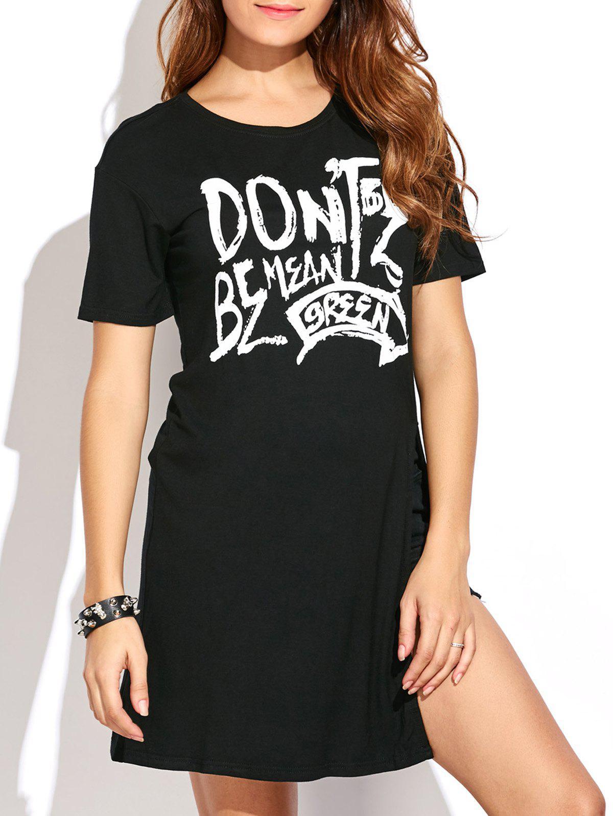 High Slit Graphic Long T Shirt 197831703