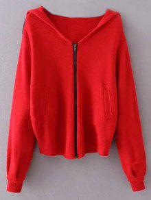 Zippered Hooded Cardigan - Red