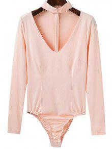 Cut Out Long Sleeve Choker Bodysuit - Apricot S