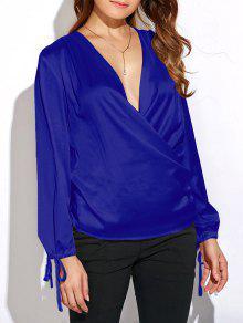 Crossover Long Sleeve Chiffon Top - Blue L
