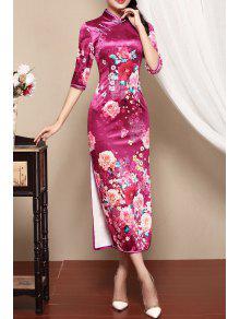 فستان ميدي انقسام طباعة الأزهار - وردة حمراء 2xl