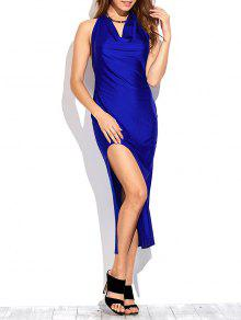 High Slit Draped Maxi Prom Dress - Sapphire Blue L