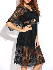 Vestido De Encaje De La Cintura Del Recorte - Negro 2xl